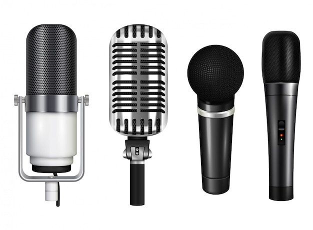 Professional microphone collection for karaoke and concert in realistic style isolated on white background  illustration