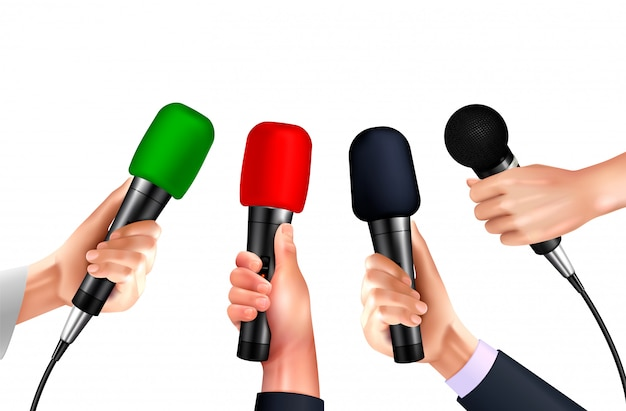 Professional microphones in human hands realistic images set on blank background with different modern mic models