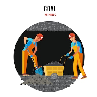 Professional miner people flat template