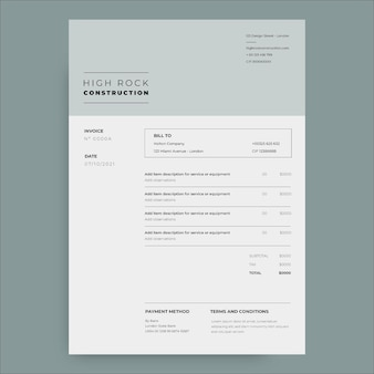 Professional minimalist high rock construction invoice