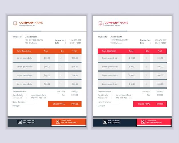 전문 현대 비즈니스 송장 청구서 양식 템플릿 디자인 모음.