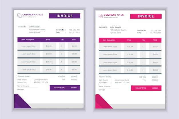 Набор шаблонов формы счета-фактуры профессиональный современный бизнес.