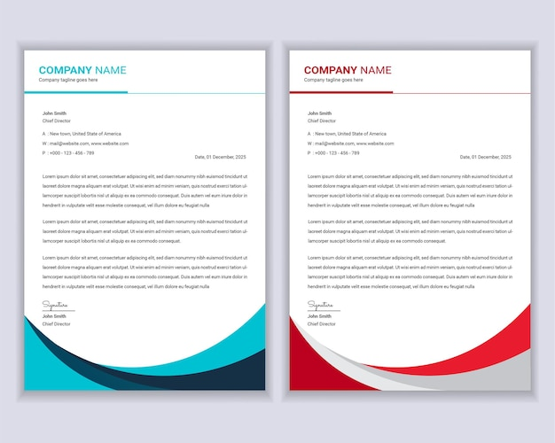 Professional modern business letterhead template design set.