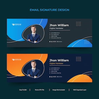 Professional modern corporate minimal colorful business email signature or email footer design