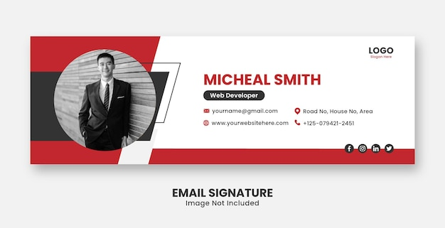 Professional modern email signature or footer square templates premium vector