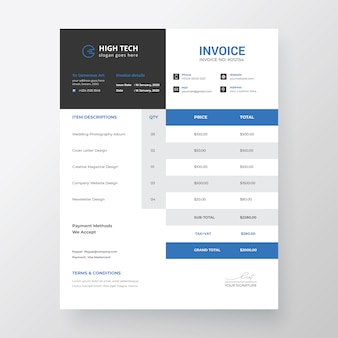 Professional modern invoice template