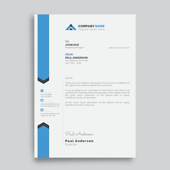 Professional modern letterhead design template with blue and white background