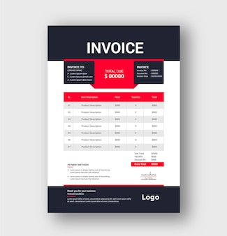 Professional modern red corporate business invoice template design