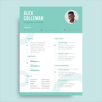 Modello di curriculum professionale monocolore alex immobiliare