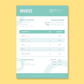 Professional monocolor real estate invoice