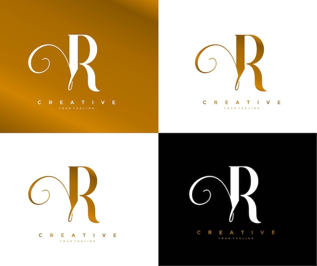 プロのモノグラム署名文字rロゴタイプ