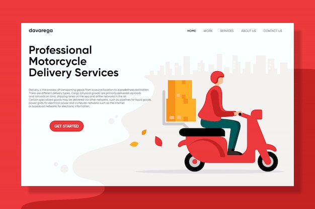 Professional motorcycle delivery services landing page flat design