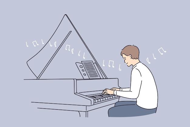 전문 음악가 및 음악 교육 개념.
