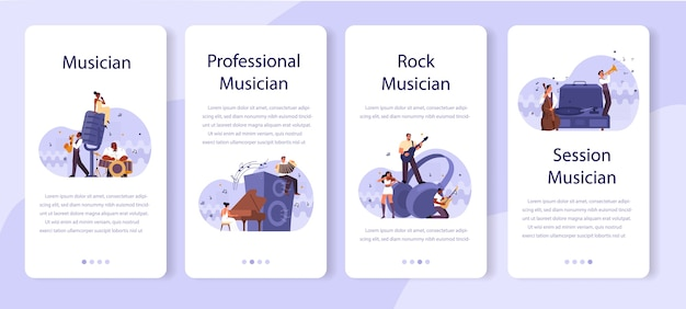 Professional musician playing musical instruments mobile application banner set. young performer playing music with professional equipment. jazz and rock band performance.  .