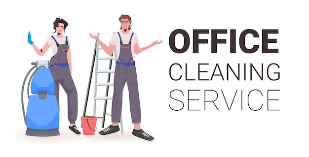 Professional office cleaners man woman janitors in uniform with cleaning equipment standing together copy space horizontal