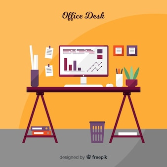 Professional office desk with flat design