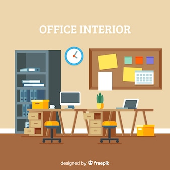 Professional office interior with flat design
