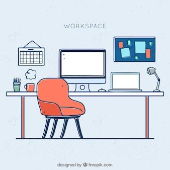 Профессиональный офис с ручным рисунком