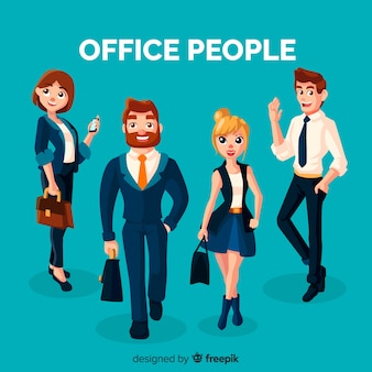Professional office workers with flat design