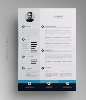 Professional one page resume cv template