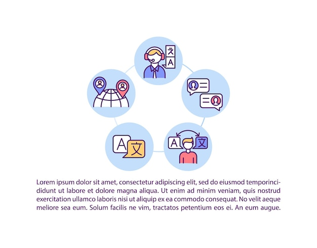 Professional online education concept icon with text. bilingual and native speakers. distance learning. ppt page  template.