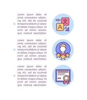 テキストとプロのオンライン教育コンセプトアイコン。認定外国語教師。 pptページテンプレート。