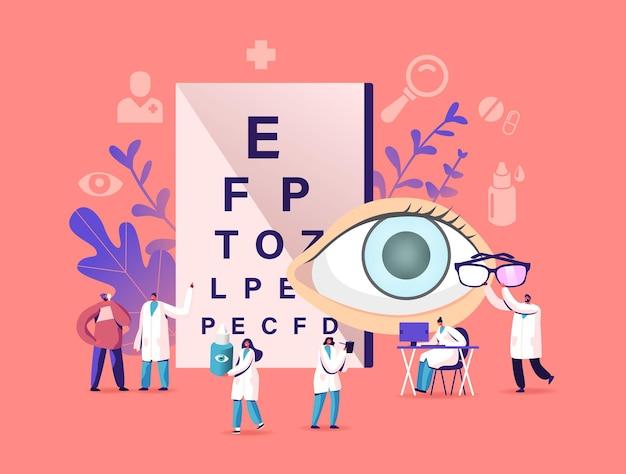 Осмотр профессионального оптика для лечения глаукомы. офтальмолог доктор персонаж проверяет зрение на диоптрийность очков