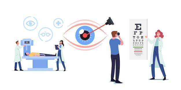 레이저 교정, 눈 수술 및 시력 치료를 위한 전문 안경점 시험. 안과 의사 캐릭터 시력 검사. 안과 검진 시력. 만화 사람들 벡터 일러스트 레이 션