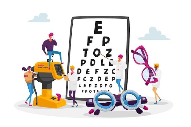 Осмотр профессионального оптика для иллюстрации лечения зрения