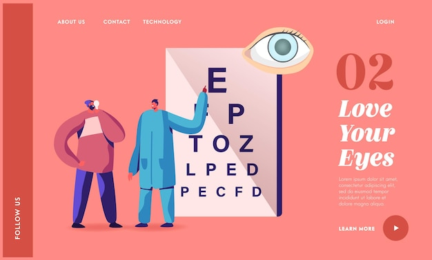 Professional optician exam landing page template. ophthalmologist doctor check up patient eyesight for eyeglasses diopter. oculist male character conduct eyecheck. cartoon people vector illustration