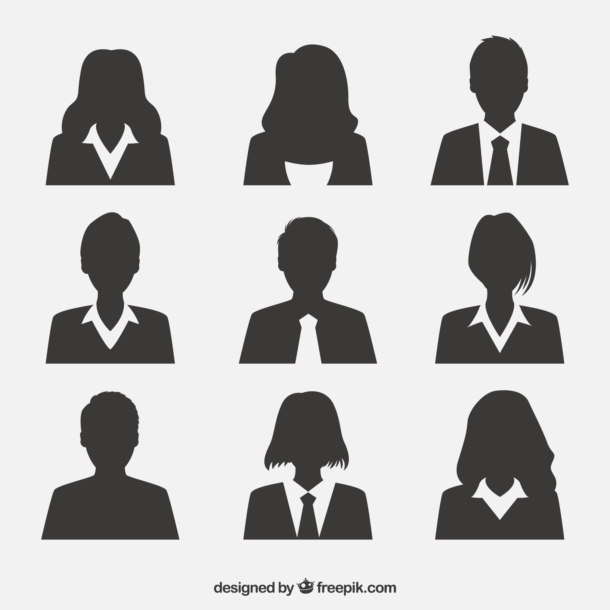 Professional pack of silhouette avatars