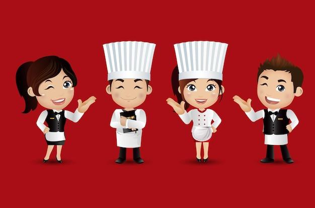 다른 포즈와 전문적인 사람들이 요리사
