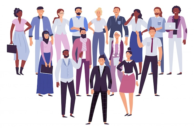 Professional people team. business persons group, society leadership and office workers crowd  illustration