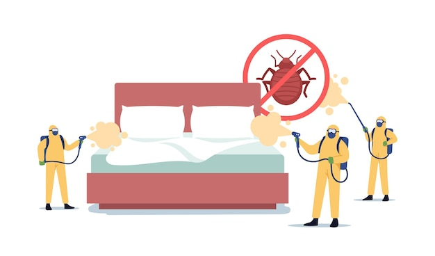 Professional pest control service doing room disinsection against bed bugs. exterminators characters in hazmat suits spraying toxic liquid for bedbugs extermination. cartoon people vector illustration