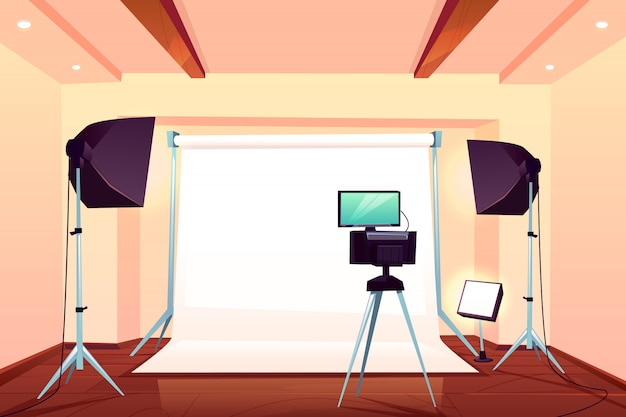 Professional photo studio interior cartoon vector illustration