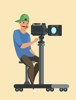 Профессиональный фотограф на рабочем персонаже, мультяшный парень с видеокамерой в кепке, мужской рисунок оператора. съемочное оборудование, съемочный процесс на тв