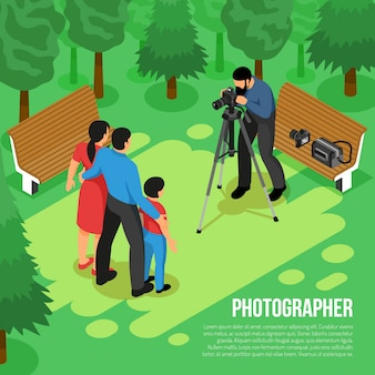 Professional photographer family shooting outdoor session with camera on tripod isometric composition in summer park  vector illustration
