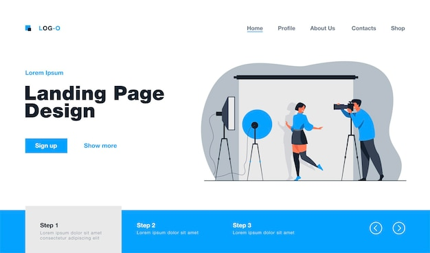 Professional photographer taking pictures of young woman landing page in flat style