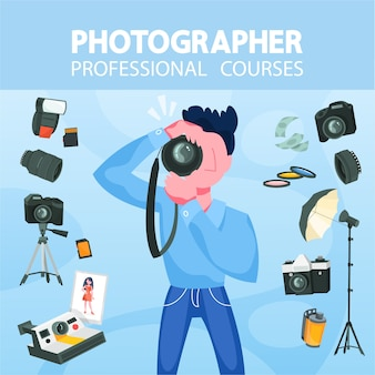 Professional photographer with camera. artistic occupation concept