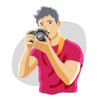 カメラを持つプロの写真家