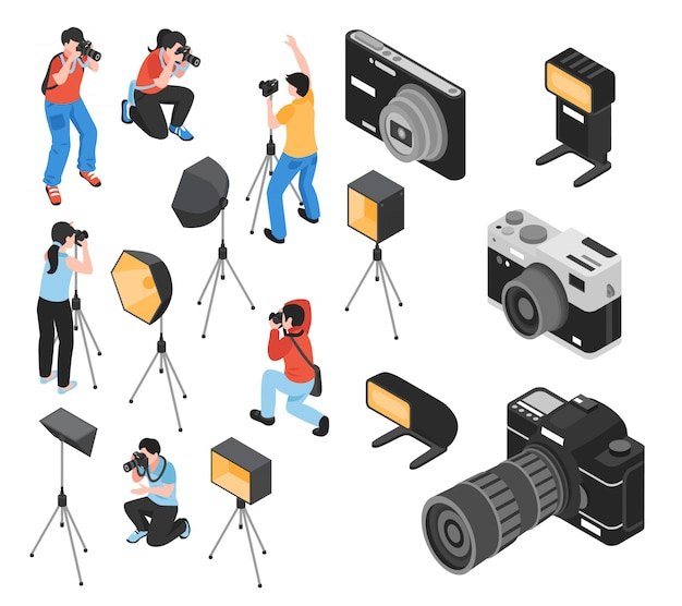 Professional photographer and work equipment including cameras, tripod, lighting facilities  isometric