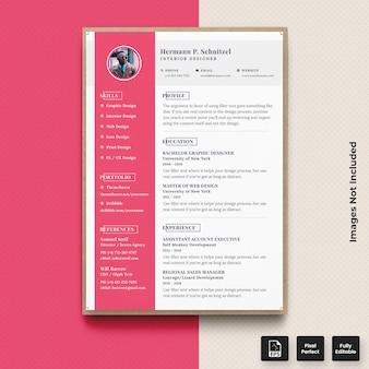 プロフェッショナルピンクcv履歴書印刷ベクトルプレミアムテンプレート