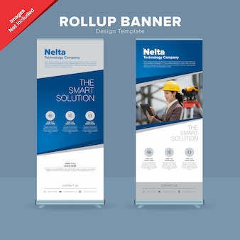 Professional planing and road survare rollup banner template