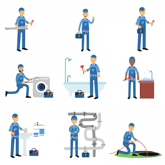 Professional plumber in blue uniform at work set, plumbing service   illustrations