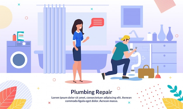 Professional plumber service flat vector banner
