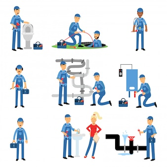 Professional plumber at work set, plumbing service   illustrations