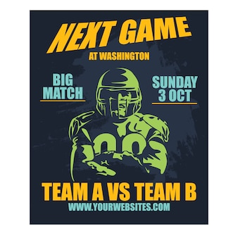 Professional poster american football and rugby game