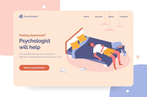 Professional psychologist help landing page first screen. therapy sessions for depressed people hero image. apathetic partly dressed guy laying in bad in messy room and procrastinating with smartphone