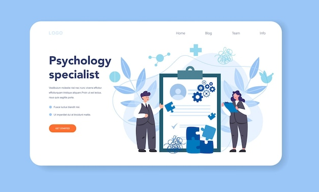 Professional psychologist web template or landing page. therapist giving professional treatment. mental health support. problem with mind. vector illustration