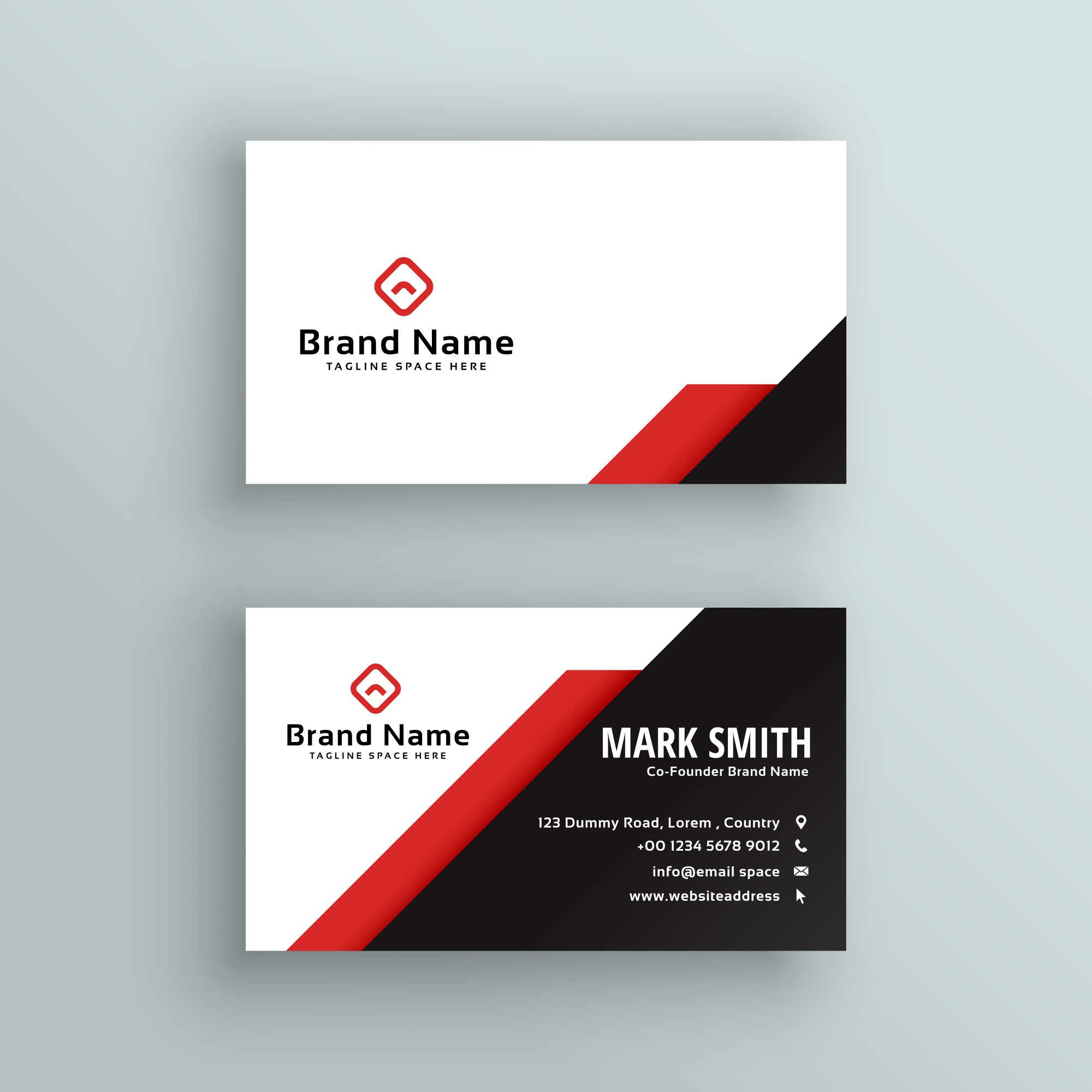 Professional red and black business card design
